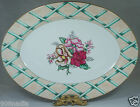 FITZ & FLOYD SERVING OVAL TRAY PINK FLOWERS,GREEN,CREAM