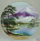 VINTAGE PLATE HAND PAINTED SCENIC MOUNTAIN JAPAN GOLD RIM FINE CHINA SIGNED