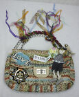 Vintage Hemp Weave Hand Bag Purse Multi Color With Flohr Dahli and Fun Designs