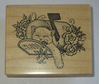 Kitten Sleeping in Mail Box Rubber Stamp PSX Roses Cat Kitty Special Delivery