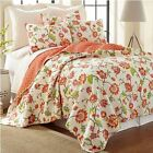 BRITTANY Floral QUEEN QUILT SET Bird Feather Pillow! TEAL PINK ORANGE RED YELLOW