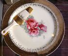 Gold Rimmed Cake Plate/Platter Antique Collectible With Server Made in USA