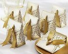 100 Pc Gold Ribbon Wedding Favor Boxes Gift Party Decoration Candy Bridal Shower