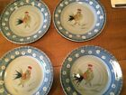 Royal Norfolk Hand Painted Rooster Dinner Plates--set of 4