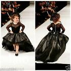 2016 Christma Lace Flower Girl Dresses Long Sleeve Princess Bridesmaid Ball Gown