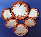 Six Piece Cake Plate Set, Iridescent, Hand Painted Flowers, Noritake, Japan