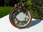Fitz & Floyd Classics Christmas Wreath Plate with Red Bow & Flowers