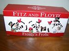 Fitz and Floyd Frosty's Frolic Set of 3 Ceramic Tumbling Snowmen w/Ori. Box