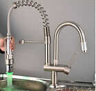 LED Brushed Nickel Kitchen Sink Faucet Pull out Spray Swivel Spout Mixer Tap