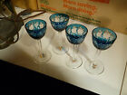 SET OF FOUR BOHEMIAN TEAL CUT  ETCHED CRYSTAL CORDIALS