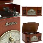 Turntable Record Player Vintage Style Vinyl Radio CD MP3 Stereo Wood Cabinet Alb