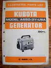 Kubota Model A650-3Y-USA GENERATOR 60Hz Illustrated Parts List Manual   Lot #437