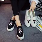 New Fashion Womens Grils Sneakers Elastic Slip On Canvas Loafers Casual Shoes