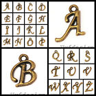 Antique Brass Letter Charm Beads 2pcs pick your letters