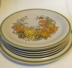 6pc Harvest Collection Valley Fruit Platter Dinner Plate Hand Painted Stoneware