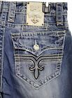 Rock Revival Brand Jean Mens Straight leg Fluer John Vintage Destroyed blue