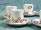 Vintage Jacobean Royal Grafton Set Demitasse Coffee Espresso Cups Wild Rose