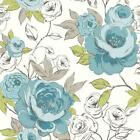 ARTHOUSE OPERA LUXURY CASSI HAND PAINTED FLORAL FLOWER BLOOM WALLPAPER ROLL TEAL