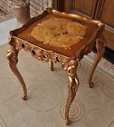 1920s FRENCH MARQUETRY LOUIS XV BURLED INLAY PEDESTAL TABLE GILT WOOD CHERUBS