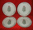SET OF 4 CORELLE CALLAWAY HOLIDAY DINNER PLATES CHRISTMAS TREE CENTER 10 1/4