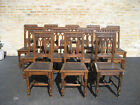 ANTIQUE MATCHING SET of 12 GOTHIC OAK DINING CHAIRS - RARE - 1890's FROM FRANCE