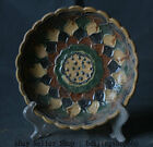 23CM Old Chinese Tang San Cai Pottery Porcelain Dynasty Palace Flower Tray Plate