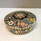 Vintage Embossed Floral TIN Jar Container Lidded Round Made in Holland
