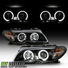 Black 2004 2006 BMW E46 3 Series Coupe LED Halo Projector Headlights w Corner