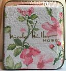 Nicole Miller Cotton Blossom FULL/QUEEN Reversible Quilt Pink Green Floral White