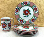 Vintage Neiman Marcus Fitz & Floyd Camellia Lot 5 Salad Plates 1 Cup Red Floral