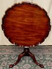 HENKEL HARRIS MAHOGANY PIE CRUST TABLE Tilt Top Center Spindle Claw Feet VINTAGE