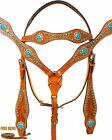 TURQUOISE BLUE BARREL RACING PLEASURE TRAIL NEW WESTERN LEATHER HORSE TACK SET