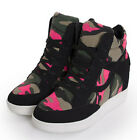 Womens Wedge Camouflage Lace Up Sneakers High Top High Heel Ankle Boots Shoes