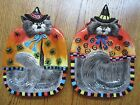 HALLOWEEN BLACK CAT WITCH- FITZ & FLOYD-TREAT BOWL OR WALL HANGING-SET OF 2!