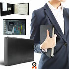 Business Check Book Binder 7 Ring 3 On A Page Zippered Black Leather Look Vinyl