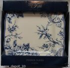 222 FIFTH ADELAIDE BLUE DINNER PLATES SET of 4 NIB Toile Bird French Country