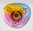 STUNNING RARE MULTI COLOR ART GLASS APPLIED BOWL MURANO SOMMERSO SCANDINAVIAN