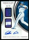 2016 Immaculate Edwin Encarnacion Blue Jays Dual Patch Autograph Red 4 10 (OH)