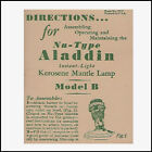 ALADDIN LAMP MODEL B INSTRUCTION BOOKLET 8 PAGE REPRODUCTION OF 1930s ORIGINAL