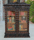 Antique English Highly Carved Oak Renaissance Revival Bookcase Display Cabinet