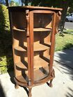 Antique Vintage Wood China Curio Display Cabinet, Hand Carved Lion Heads