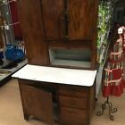ANTIQUE HOOSIER CABINET W/ SLIDE OUT ENAMEL TOP - PRIMITIVE KITCHEN