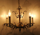Vtg. Antique French Style Brass Bronze 5 Arm Chandelier Spain