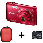 Nikon Coolpix A300 Digital Camera - Red + Case and 8GB Memory Card