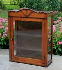 Antique French Large Oak Wall Hanging Curio Glass Cabinet Vitrine