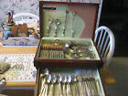 104 PIECES OF HOLMES AND EDWARDS CAROLINA PATTERN WITH WOODEN STORAGE BOX