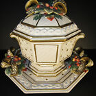 Fitz and Floyd Christmas Snowy Woods Tureen Platter Underplate New Old Stock
