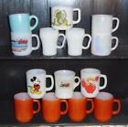 14 Vintage Fire King Coffee Mugs Cups - Iridescent, Apple Dumplin, Brick Red+