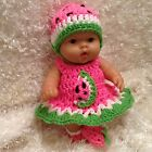 Clothes For 10 Inch Berenguer Reborn Doll Watermelon Dress Set