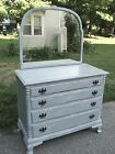 VINTAGE CHIPPENDALE STYLE 4-DRAWER MAHOGANY CHEST DRESSER w/ MIRROR